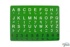 Alfabetkaart in braille- en grootletterschrift