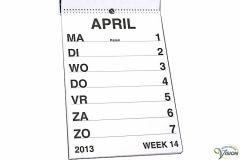 Weekkalender 2022 grootletterschrift formaat A3.