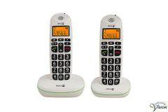Doro PhoneEasy 100W duoset, draadloze Dect telefoons met 10 directe nummers.