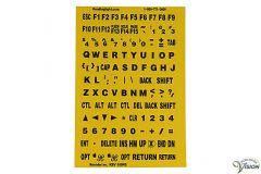 Toetsenbord stickers zwarte karakters gele achtergrond