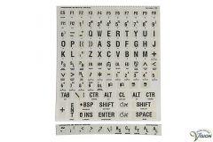 Toetsenbordstickers met braille en zwarte karakters witte achtergrond