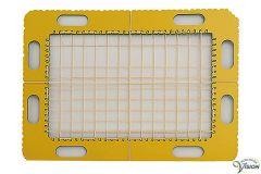 TactiPad GraphGrid raster met tekenaccessoires en elastieken.
