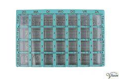 Medicijndoos Dosett met 7-daagse indeling en 4 vakjes per dag
