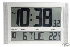 Kalenderklok zendergestuurd, digitale tijds-, dag-, maand- en temperatuursaanduiding.