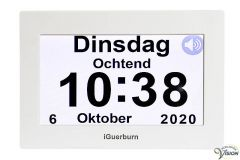 Black Friday van 109,00 voor - Kalenderklok met touchscreen scherm en Nederlandssprekend voor dag, maand, jaar en tijdsaanduiding.