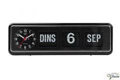 Twemco BQ-38 kalenderklok voor slechtzienden met analoge, zwarte wijzerplaat en datum aanduiding.