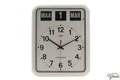 Twemco BQ-12A kalenderklok voor slechtzienden met analoge, witte wijzerplaat en datum aanduiding.