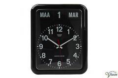 Twemco BQ-12A kalenderklok voor slechtzienden met analoge, zwarte wijzerplaat en datum aanduiding.