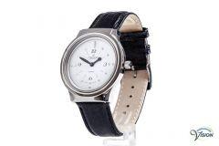 Montiel Zwitsers horloge, anti-allergisch behuizing met puntindicatie en witte wijzerplaat van 29 mm.