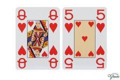 Speelkaarten met normale afbeeldingen en grote cijfers en letters, type Opti