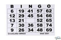 Bingoblok in grootletterschrift, met 100 verschillend, genummerde vellen