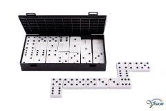 Domino van witte kunststof met zwarte, opliggende punten tot dubbel zes